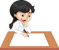 Jolie fille portant l'uniforme de scientifique écrit sur du papier blanc