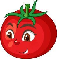 personnage de dessin animé de tomate avec une expression de visage heureux sur fond blanc