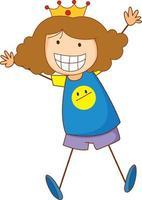 un personnage de dessin animé de fille doodle isolé