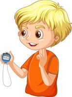 un personnage de dessin animé de garçon entraîneur tenant une minuterie vecteur
