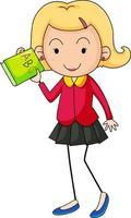 personnage de dessin animé de professeur dans le style de doodle dessiné à la main isolé vecteur