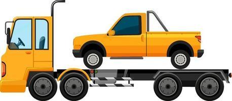 Dépanneuse transportant une voiture fond isolé