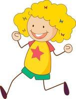 personnage de dessin animé mignon fille dans un style doodle dessiné à la main vecteur