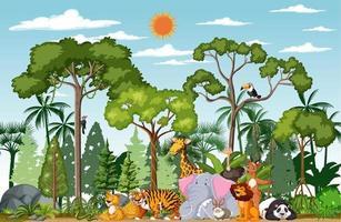 personnage de dessin animé animal sauvage dans la scène de la forêt