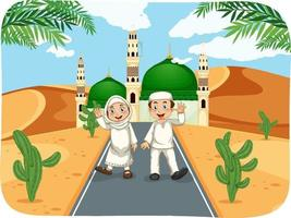 scène en plein air avec personnage de dessin animé musulman garçon et fille