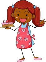 jolie fille tenant le personnage de dessin animé de doodle gâteau isolé vecteur