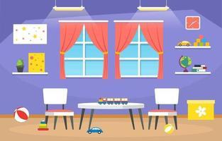 école maternelle ou élémentaire coloré avec illustration de bureaux et de jouets vecteur