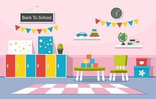 Classe colorée de maternelle ou d'école élémentaire avec illustration de bureaux et de jouets