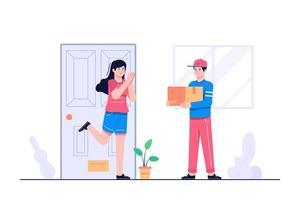 livraison homme pour illustration de concept à domicile vecteur