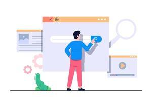 illustration plate de concept de moteur de recherche vecteur