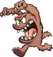 monstre de dessin animé brun vecteur