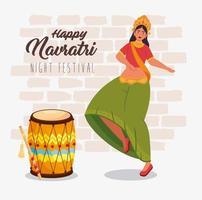 affiche de célébration joyeux navratri avec femme dansant vecteur