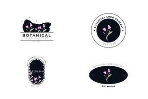 création de logo organique botanique moderne fleur minimaliste vecteur