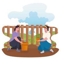 femmes jardinage en plein air