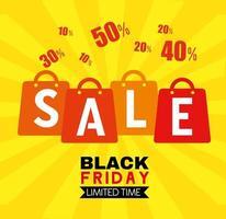 bannière de vente vendredi noir avec sacs à provisions