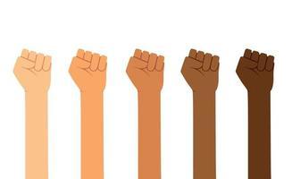 différentes couleurs de peau, les mains des poings se lèvent. autonomisation, fête du travail, droits de l'homme, concept de combat vecteur