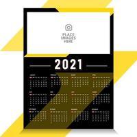 Modèle de calendrier 2021 avec conception d'image d'espace réservé vecteur