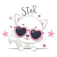 illustration animale avec chat mignon fille avec des lunettes. vecteur