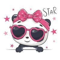 illustration animale avec panda jolie fille avec des lunettes. vecteur