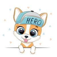 illustration animale avec chien mignon garçon au chapeau. vecteur