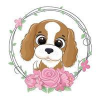 mignon bébé chien d'été avec une couronne de fleurs. illustration vectorielle