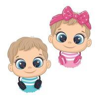 dessin animé mignon petite fille et garçon avec un casque écoutant de la musique vecteur