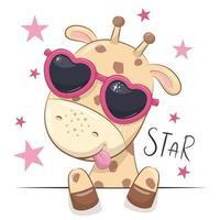 illustration animale avec girafe jolie fille avec des lunettes. vecteur