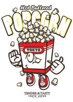 typographie conception de t-shirt pop-corn vecteur