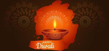 lampe à huile diya indienne pour le festival des lumières fond de diwali heureux