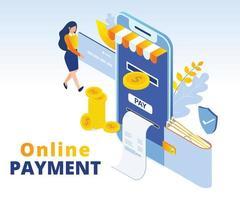 conception isométrique du concept de paiement en ligne vecteur