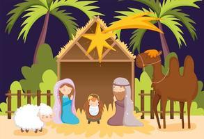 joyeux noël et affiche de la nativité avec famille sacrée et crèche