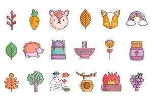 jeu d'icônes automne mignon vecteur