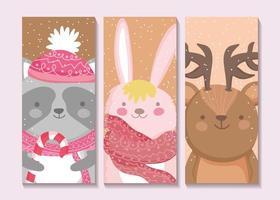 ensemble de cartes mignons animaux d'hiver