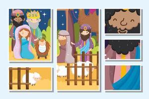 joyeux noël et jeu de cartes de la nativité
