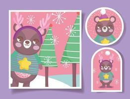 jolies étiquettes de noël avec ours heureux