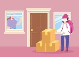 concept de livraison sûre pendant le coronavirus avec courrier