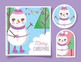 jolies étiquettes de noël avec bonhomme de neige heureux