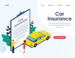 page de destination de vecteur isométrique assurance automobile