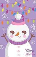 affiche de joyeux noël avec bonhomme de neige heureux