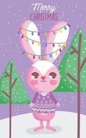 affiche de joyeux noël avec lapin heureux