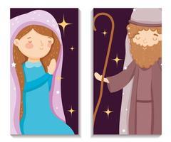 joyeux noël et affiche de la nativité avec joseph et mary vecteur
