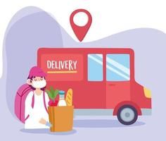 concept de livraison sûre pendant le coronavirus avec courrier et camion