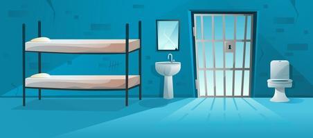Intérieur de la cellule de prison avec treillis, porte grillagée, lit superposé, cuvette de toilette, lavabo et illustration de murs de briques rayées et fissurées. salle de prison en style cartoon