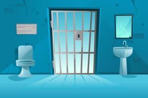Intérieur de la cellule de prison avec treillis, porte grillagée, cuvette des toilettes, lavabo et miroir brisé, murs sales. salle de prison. vecteur de dessin animé