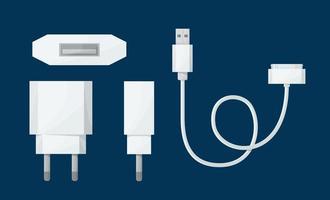 Adaptateur de chargeur USB pour smartphone dans une vue différente avec micro-câble USB 30 broches. illustration vectorielle en style cartoon.