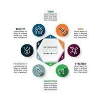 diagrammes hexagonaux en 6 étapes pour expliquer les présentations et les idées de planification.