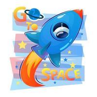 vaisseau spatial voler dans un style cartoon avec feu et cosmonaute ou astronaute dans la fenêtre. slogan. aller dans l'espace. icône de vecteur pour la conception web isolé sur fond blanc