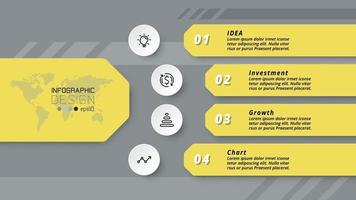 4 étapes de travail. organisation commerciale, entreprise, éducation, publicité, vecteur, conception infographique. vecteur