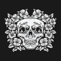 crâne de dessin à la main entouré d'illustration vectorielle de fleurs roses