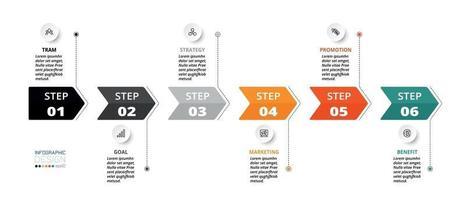 décrivant le processus à travers l'étiquette de la flèche, la chronologie, utilisez-le pour planifier le travail. vecteur